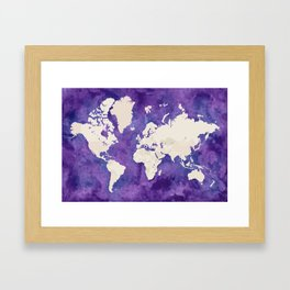 Purple watercolor and light brown world map with outilined countries Framed Art Print