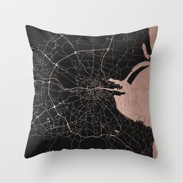 Black on Rosegold Dublin Street Map Throw Pillow