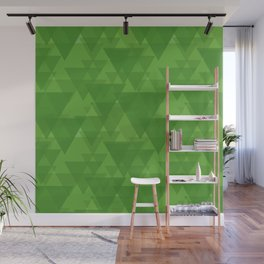 Gentle green triangles in intersection and overlay. Wall Mural