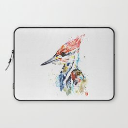 Woodpecker Colorful Watercolor Bird Painting Laptop Sleeve