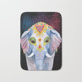 Indian Holi Elephant Watercolor and Acrylic Painting Bath Mat