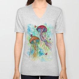 Jellyfish Garden Unisex V-Neck
