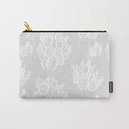 Prickly Pear Grey Cacti Carry-All Pouch