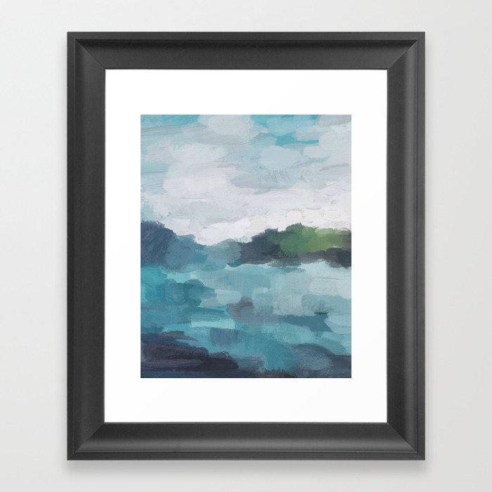 Aqua Blue Green Abstract Art Painting Gerahmter Kunstdruck