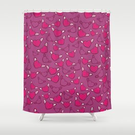 Pink Hearts with Angel Wings Valentine's Day Pattern Shower Curtain