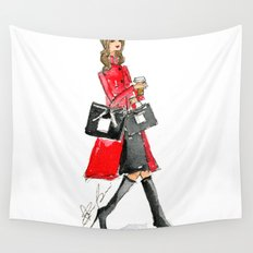 Walking Out of 5th Avenue Fashion Illustation by Elaine Biss Wall Tapestry