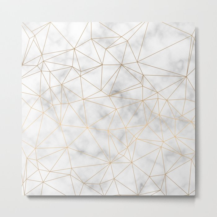 Marble Gold Geometric Texture Metal Print