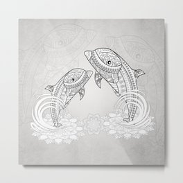Beautiful dolphin, mandala design Metal Print