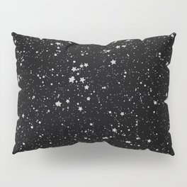 Glitter Stars2 - Silver Black Pillow Sham