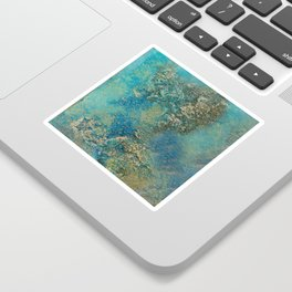 Blue And Gold Modern Abstract Art Painting Sticker
