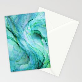 Sea Green Flowing Waves Abstract Ink Painting Stationery Cards