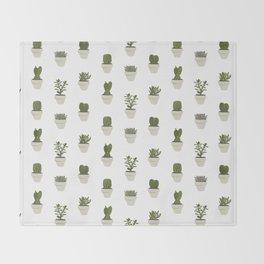 Cacti & Succulents - White Throw Blanket