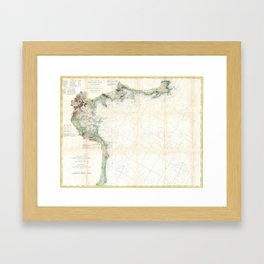 Vintage Map of Boston Bay (1866) Framed Art Print