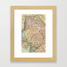 Vintage and Retro Map of India Framed Art Print