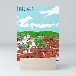 Ljubljana View From Castle Digital Paint on Photo Mini Art Print