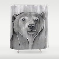 teddy bear Shower Curtains featuring Teddy Bear by Puddingshades