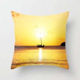 Watercolor Landscape Sailboat Sunset at Francis Bay, St. John Throw Pillow