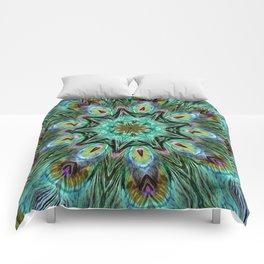 Colorful Peacock Feather Kaleidoscope Comforters