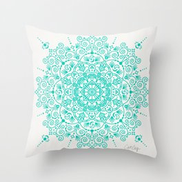 Moroccan Mandala – Turquoise Palette Throw Pillow