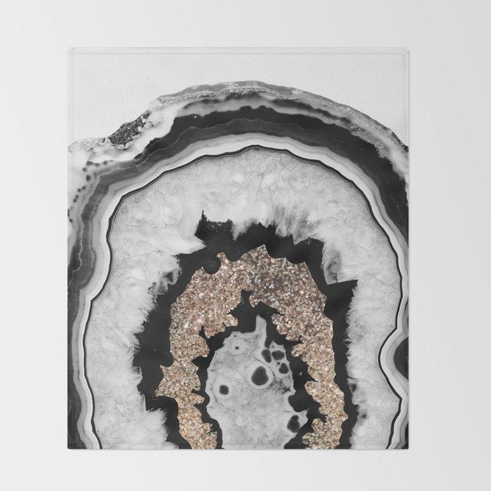 Gray Black White Agate with Gold Glitter #1 #gem #decor #art #society6 Throw Blanket