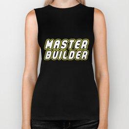 MASTER BUILDER in Brick Font Logo Design by Chillee Wilson Biker Tank
