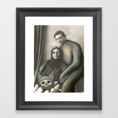 My Eyes! Vintage Black and White Photo Repainted in Oils  Framed Art Print