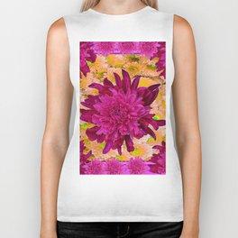 Stylized  Burgundy Purple & Yellow Chrysanthemums Floral Garden Biker Tank