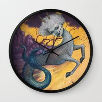 capricorn Wall Clocks featuring Capricorn by Artist Andrea