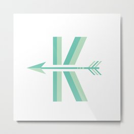 "Vintage Inspired Letter  ""K"" (arrow pointing left) Metal Print"