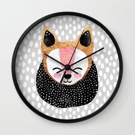 Little Arctic Fox Wall Clock