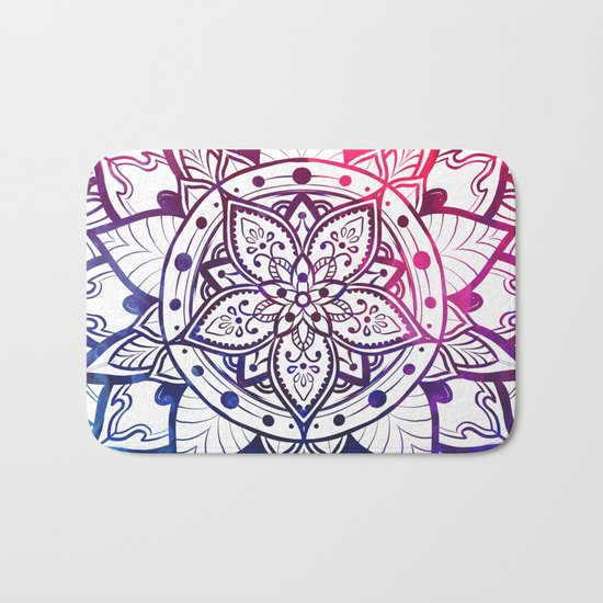 Inner Peace Red Purple Blue Mandala Bath Mat