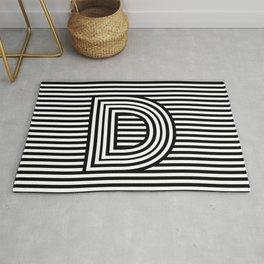 Track - Letter D - Black and White Rug