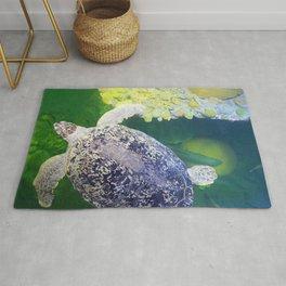 Sea Turtle on Lime Green Rug