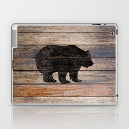 Rustic Bear Silhouette on Wood Country Art A231a Laptop & iPad Skin
