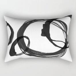 Black Ink Geometric Abstract Painting Rings 3 Rectangular Pillow