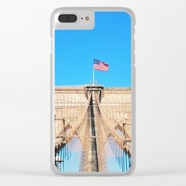 107. Middle of Brooklyn Bridge, New York Clear iPhone Case