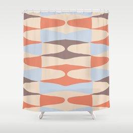 Zaha Blue Retro Shower Curtain