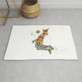 Soccer player in watercolor-22 Rug