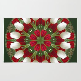 Tulip Kaleidoscope - Red And White Rug