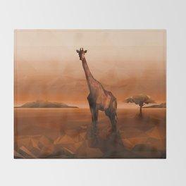 Giraffe (Low Poly Orange) Throw Blanket