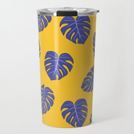 Monstera trendy - yellow purple Travel Mug