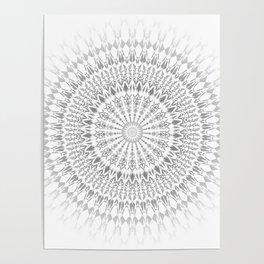 Gray White Mandala Poster