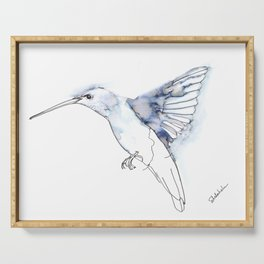 Hummingbird Watercolor Drawing, Wings Flapping Serving Tray