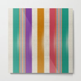 """Colorful Vertical Lines Burlap Texture"" Metal Print"