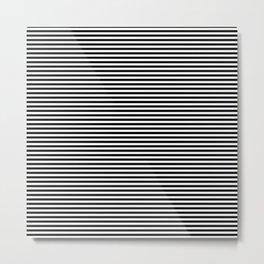 Even Horizontal Stripes, Black and White, XS Metal Print