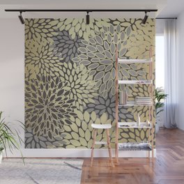 Floral Decor Pattern, Petal Blooms,Grey and Gold Wall Mural
