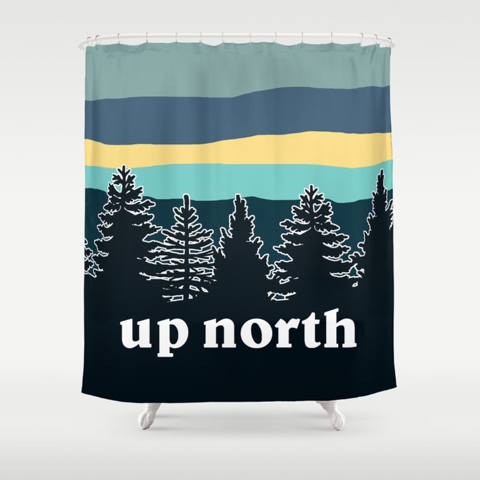 Up North Teal Yellow Shower Curtain