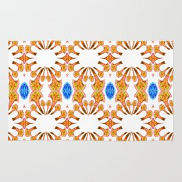 Lush Geometry Series Golden Floral with Sapphire Accent Rug
