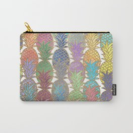 Colorful Watercolor and Gold Pineapple Pattern Carry-All Pouch