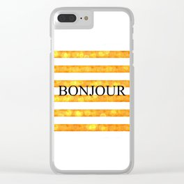 Bonjour Orange Stripe Bokeh Clear iPhone Case